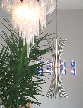 LIKE NEW $200 Chandelier Brushed Nickel Stainless
